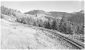 D&amp;RGW track west of Marshall Pass summit.  The snowshed can be seen at upper center.<br /> D&amp;RGW  Marshall Pass, CO  Taken by Richardson, Robert W. - 9/9/1951
