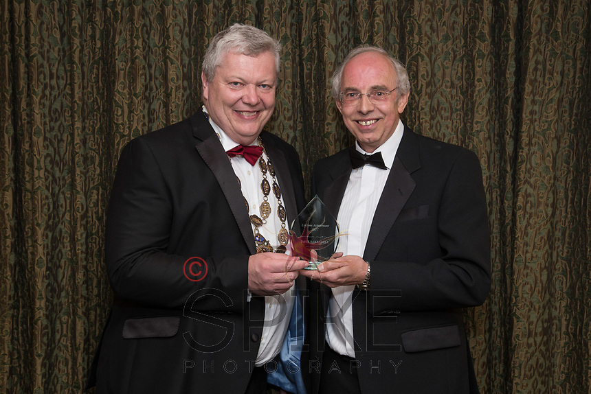Pictured with Michael Auty QC, President of the Nottinghamshire Law Society is David Barradell - Lifetime Achievement Award