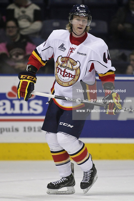 QMJHL (LHJMQ) hockey profile photo on Acadie-Bathurst Titan Olivier Houle November 21, 2012 at the Colisee Pepsi in Quebec city.