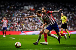 Nacho Fernandez of Real Madrid (L) fights for the ball with Juanfran Torres of Atletico de Madrid (R) during their La Liga  2018-19 match between Real Madrid CF and Atletico de Madrid at Santiago Bernabeu on September 29 2018 in Madrid, Spain. Photo by Diego Souto / Power Sport Images