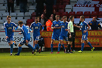Notts County players celebrate their first goal during Stevenage vs Notts County, Sky Bet EFL League 2 Football at the Lamex Stadium on 11th November 2017