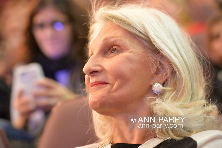 Garden City, New York, U.S. November 21, 2013. NANCY RAMSEY, wife of NASA Astronaut Rusty Schweickart, 1969 Apollo 9 Lunar Module LM Pilot, is in audience during her husband's Legends of Air and Space lecture at Cradle of Aviation Museum on Long Island.