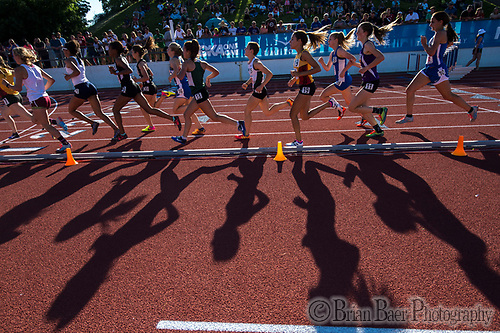 Girls run the 1600 meters race at the Sacramento Meet of Champions at American River College, Saturday Apr 29, 2017. <br /> photo by Brian Baer (Brian Baer/Special to The Bee)