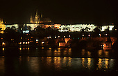 Prague, Czech Republic. The Castle and St Vitus Cathedral at night from the river.
