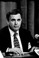 January 22, 1994 File Photo - Marcel Cote, Secor speak at a pre (Federal) budget forum organized by the IRPP.<br /> <br /> Cote ran for Montreal Mayor in the November 3rd, 2013 municipal electiond and was defeated by Denis Coderre.<br /> <br /> Former President of SECOR (consulting firm) Cote ran for Montreal Mayor and was defeated by Denis Coderre in the November 3, 2013 municipal elections.<br /> <br /> Marcel Cote just passes away today May 25, 2014 of cardiac arrest while taking part in a fundraiser race.<br /> <br /> File Photo : Agence Quebec Presse