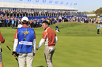 Delighted Rory McIlroy as Sergio Garcia (Team Europe) sinks his birdie putt to win the match on the 17th green during Saturday's Fourball Matches at the 2018 Ryder Cup 2018, Le Golf National, Ile-de-France, France. 29/09/2018.<br /> Picture Eoin Clarke / Golffile.ie<br /> <br /> All photo usage must carry mandatory copyright credit (&copy; Golffile | Eoin Clarke)
