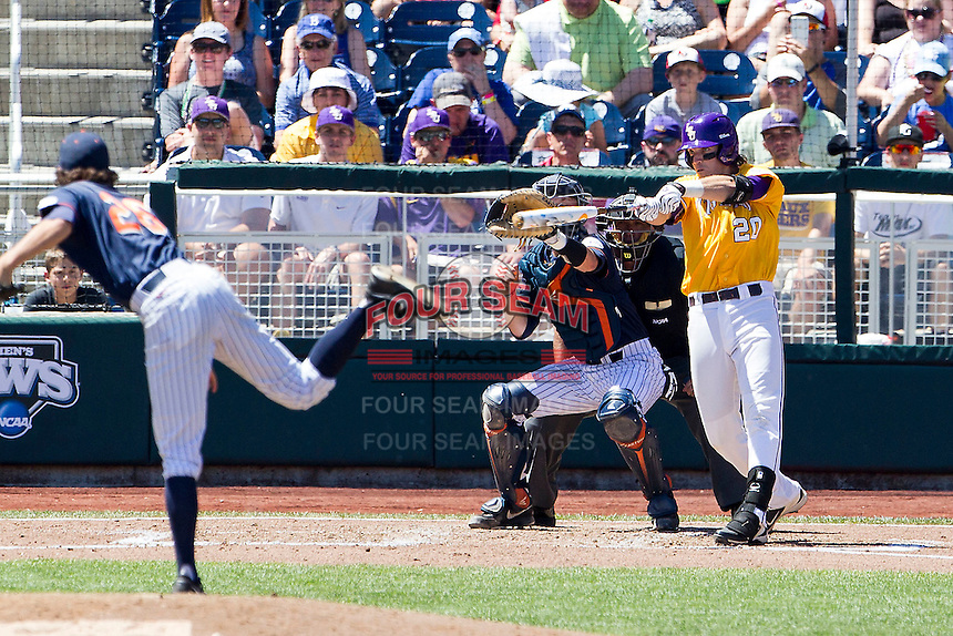LSU Tigers third baseman Connor Hale (20) swings the bat during the NCAA College baseball World Series against the Cal State Fullerton on June 16, 2015 at TD Ameritrade Park in Omaha, Nebraska. LSU defeated Fullerton 5-3. (Andrew Woolley/Four Seam Images)