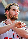 8 July 2017: Washington Nationals second baseman Daniel Murphy stands in the dugout during a game against the Atlanta Braves at Nationals Park in Washington, DC. The Braves shut out the Nationals 13-0 to take the third game of their 4-game series. Mandatory Credit: Ed Wolfstein Photo *** RAW (NEF) Image File Available ***