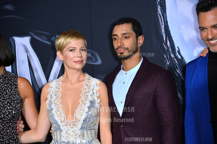 LOS ANGELES, CA. October 01, 2018: Michelle Williams &amp; Riz Ahmed at the world premiere for &quot;Venom&quot; at the Regency Village Theatre.<br /> Picture: Paul Smith/Featureflash