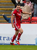 7th March 2020; Pittodrie Stadium, Aberdeen, Scotland; Scottish Premiership Football, Aberdeen versus Hibernian; Andrew Considine of Aberdeen celebrates after scoring to make the score  2-1 for Aberdeen  in the 64th minute