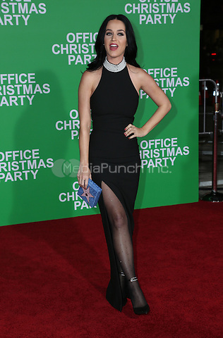 WESTWOOD, CA - DECEMBER 07: Katy Perry arrives at the premiere of Paramount Pictures' 'Office Christmas Party' at Regency Village Theatre on December 7, 2016 in Westwood, California.  (Credit: Parisa Afsahi/MediaPunch).