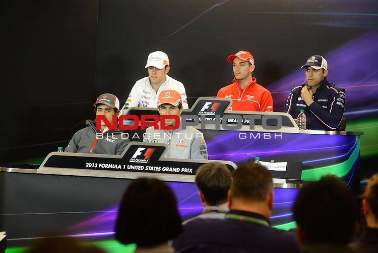 15.-17.11.2013, Circuit of The Americas, Austin, USA, FIA, Formel 1, United States Grand Prix, Qualifikation, im Bild  Esteban Gutierrez (MEX) Sauber F1 Team - Paul di Resta (GBR), Force India - Sergio Perez (MEX)  McLaren F1 Team  - Jenson Button (GBR),  McLaren F1 Team  - Pastor Maldonado (VEN) Williams GP <br />  Foto &copy; nph / Mathis