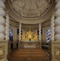 Baldachin and altar in the Eglise Saint-Francois-de-Sales in Neuville, on the Rue des Erables, part of the Chemin du Roy, Quebec, Canada. The 10m high canopy dates from 1695 when it was commissioned by Monseigneur de Saint-Vallier for the bishop's palace, and has been in this church since 1717. The choir was rebuilt around it 1761-63. The high altar was made by Francois Baillairge in 1802. The Chemin du Roy or King's Highway is a historic road along the Saint Lawrence river built 1731-37, connecting communities between Quebec City and Montreal. Picture by Manuel Cohen