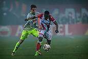 7th December 2017, Rajko Mitic Stadium, Belgrade, Serbia, UEFA Europa League football, Red Star Belgrade versus FC Cologne; Midfielder Guelor Kanga of Red Star Belgrade against Defender Lukas Klunter of FC Koeln