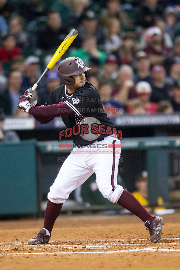 Texas A&M Aggies third baseman Hunter Melton (50) at bat during the Houston College Classic against the Baylor Bears on March 8, 2015 at Minute Maid Park in Houston, Texas. Texas A&M defeated Baylor 3-2. (Andrew Woolley/Four Seam Images)