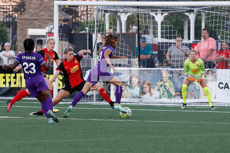 Rochester, NY - Saturday June 11, 2016: Orlando Pride forward Alex Morgan (13), Western New York Flash goalkeeper Britt Eckerstrom (28) during a regular season National Women's Soccer League (NWSL) match between the Western New York Flash and the Orlando Pride at Rochester Rhinos Stadium.