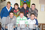 ..WAIT: The wait is obver for students of Causeway Comperhensive School, on Wednesday as they got their leaving their results.Colin Moloney (Ballyheigue), Jason Fealy (Abbeydorney) and John Cleary (Lixnaw). Back l-r: John Paul O'Mahony and Joe McElligott (Kilmoyley), Stephen Young (Causeway) and Sean Griffin (Kilmoyley).....