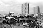 Irish Tinker scrap car metal dealers Gypsy inner city camp site Balsall Heath Birmingham UK 1968.<br />