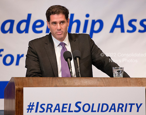 Ambassador Ron Dermer of Israel makes remarks before the &ldquo;National Leadership Assembly for Israel,&rdquo; convened by the Conference of Presidents of Major American Jewish Organizations in Washington, D.C. on Monday, July 28, 2014.  The assembly attracted 600 Jewish leaders from around the country to let the people of Israel know that they are not alone, as they face the continuing onslaught of terrorist attacks, with missiles launched at civilian populations by Hamas and other terrorists in Gaza.<br /> Credit: Ron Sachs