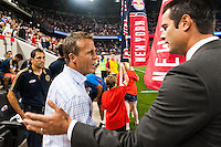 Philadelphia Union manager John Hackworth shakes hands with New York Red Bulls head coach Mike Petke. The New York Red Bulls and the Philadelphia Union played to a 0-0 tie during a Major League Soccer (MLS) match at Red Bull Arena in Harrison, NJ, on August 17, 2013.