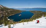Paige Brady telemark skiing Jakes and Maggies peak above Emerald Bay and Lake Tahoe