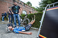 Dries De Bondt (BEL/Veranda's Willems-Crelan) dug deep.  Completly exhausted after finishing.<br /> <br /> <br /> 2nd Dwars door het Hageland 2017 (UCI 1.1)<br /> Aarschot &gt; Diest : 193km
