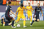 Atletico de Madrid's Lucas Hernandez (l) and Juanfran Torres (r) and FC Barcelona's Luis Suarez during Champions League 2015/2016 Quarter-Finals 2nd leg match. April 13,2016. (ALTERPHOTOS/Acero)