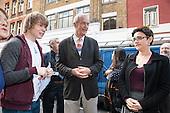 Camden Council Leader Sarah Hayward and Jon Snow, New Horizons crepe stall at launch of revamped Chalton Street market.