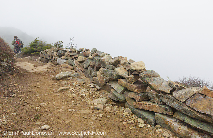Foggy conditions along the Appalachian Trail (Franconia Ridge Trail) in the New Hampshire White Mountains during the autumn months.