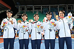 Japan team group (JPN),<br /> SEPTEMBER 1, 2018 - Soft Tennis : <br /> Women's Team  Medal ceremony<br /> at Jakabaring Sport Center Tennis Courts <br /> during the 2018 Jakarta Palembang Asian Games <br /> in Palembang, Indonesia. <br /> (Photo by Yohei Osada/AFLO SPORT)