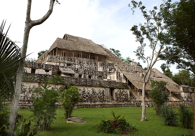 The Acropolis, 31 meters high, different terrace levels and superimposed constructions with a base measuring 160 meters by 60 meters, singular architectural style that combines elements from the Peten, Puuc, Quintana Roo coast, Rio Bec and Chenes regions, Ek Balam (?Black Jaguar? in Maya), flourished during the Late Classic period between 700 and 1200 AD, Yucatan, Mexico. Picture by Manuel Cohen