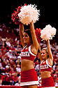 30 November 2011: Nebraska Cornhuskers  cheerleaders fire up the fans against the Wake Forest Demon Deacons at the Devaney Sports Center in Lincoln, Nebraska. Wake Forest defeated Nebraska 55 to 53.