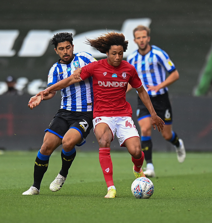 Sheffield Wednesday's Massimo Luongo (left) vies for possession with Bristol City's Han-Noah Massengo (right) <br /> <br /> Photographer David Horton/CameraSport<br /> <br /> The EFL Sky Bet Championship - Bristol City v Sheffield Wednesday - Sunday 28th June 2020 - Ashton Gate Stadium - Bristol <br /> <br /> World Copyright © 2020 CameraSport. All rights reserved. 43 Linden Ave. Countesthorpe. Leicester. England. LE8 5PG - Tel: +44 (0) 116 277 4147 - admin@camerasport.com - www.camerasport.com
