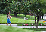 Nevada Gov. Brian Sandoval's press secretary Mari St. Martin walks outside the Legislative Building in Carson City, Nev., on Sunday, May 31, 2015.  <br /> Photo by Cathleen Allison