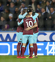 West Ham United's Marko Arnautovic celebrates scoring his side's second goal with Cheikhou Kouyate, Manuel Lanzini and Arthur Masuaku<br /> <br /> Photographer Rob Newell/CameraSport<br /> <br /> The Premier League - Huddersfield Town v West Ham United - Saturday 13th January 2018 - John Smith's Stadium - Huddersfield<br /> <br /> World Copyright &copy; 2018 CameraSport. All rights reserved. 43 Linden Ave. Countesthorpe. Leicester. England. LE8 5PG - Tel: +44 (0) 116 277 4147 - admin@camerasport.com - www.camerasport.com