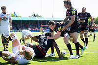 Maro Itoje of Saracens is congratulated on his second half try by team-mate Ben Spencer. Aviva Premiership Semi Final, between Saracens and Wasps on May 19, 2018 at Allianz Park in London, England. Photo by: Patrick Khachfe / JMP