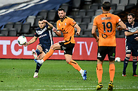 29th July 2020; Bankwest Stadium, Parramatta, New South Wales, Australia; A League Football, Melbourne Victory versus Brisbane Roar; Andrew Nabbout of Melbourne Victory takes a shot on goal