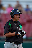 Dayton Dragons Cameron Warren (37) walks to the dugout after hitting a home run during a Midwest League game against the Kane County Cougars on July 20, 2019 at Northwestern Medicine Field in Geneva, Illinois.  Dayton defeated Kane County 1-0.  (Mike Janes/Four Seam Images)