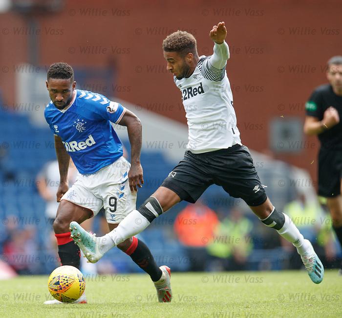 28.07.2019 Rangers v Derby County: Alfredo Morelos and Jayden Bogle