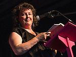 © Joel Goodman - 07973 332324 . 19/07/2013 . Suffolk , UK . Carol Ann Duffy CBE , Britain's Poet Laureate , performs  . The Latitude music and culture festival in Henham Park , Southwold . Photo credit : Joel Goodman