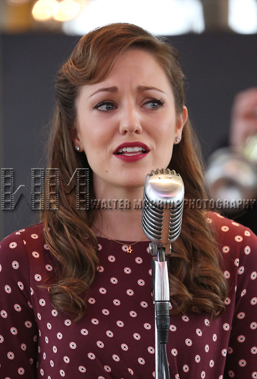 Laura Osnes performs during the 'Bandstand' Broadway cast press presentation at the Rainbow Room on March 7, 2017 in New York City.