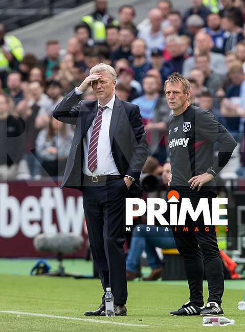 West Ham Manager David Moyes and coach Stuart Pearce during the Premier League match between West Ham United and Everton at the Olympic Park, London, England on 13 May 2018. Photo by Andy Rowland / PRiME Media Images.