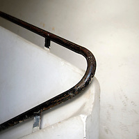 A detail of a banister in the stairwell of a Bauhaus style building at 65 Rashi Street. Tel Aviv is known as the White City in reference to its collection of 4,000 Bauhaus style buildings, the largest number in any city in the world. In 2003 the Bauhaus neighbourhoods of Tel Aviv were placed on the UNESCO World Heritage List. .