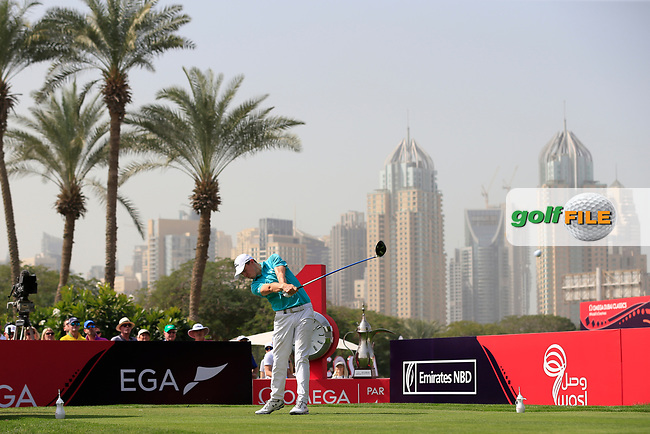 Matthew Fitzpatrick (ENG) on the 1st tee during Round 4 of the Omega Dubai Desert Classic, Emirates Golf Club, Dubai,  United Arab Emirates. 27/01/2019<br /> Picture: Golffile | Thos Caffrey<br /> <br /> <br /> All photo usage must carry mandatory copyright credit (© Golffile | Thos Caffrey)