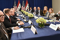 United States President Barack Obama (fourth from righ) seated between U.S. Vice President Joe Biden (fourth from right) and Samantha Power (third from right), United States Ambassador to the United Nations, attend a bilateral meeting with Prime Minister Haider al-Abadi (fifth from left) of Iraq at the Lotte New York Palace Hotel in New York, NY, on September 19, 2016. <br /> Credit: Anthony Behar / Pool via CNP /MediaPunch