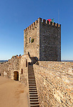 Historic walled castle in hilltop village of  Monsaraz, Alto Alentejo, Portugal, southern Europe