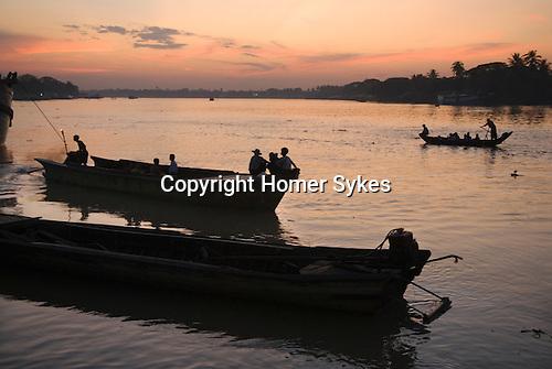 Pathein River, Burma Myanmar 2011.<br /> Ayeyarwady Irrawaddy delta.