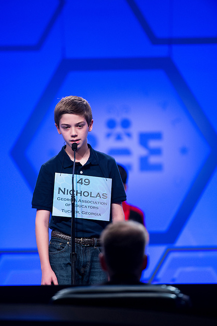 Speller No. 049, Nicholas A. Poulos, 13, seventh grader at the Wesleyan School, Peachtree Corners, Georgia, competes in the preliminary rounds of the Scripps National Spelling Bee at the Gaylord National Resort and Convention Center in National Habor, Md., on Wednesday, May 29, 2013. Photo by Bill Clark