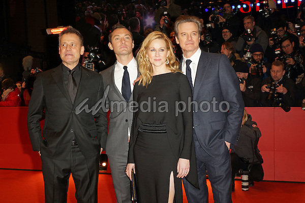 John Logan, Jude Law, Laura Linney and Colin Firth at the Premiere of 'Genius' at Berlinale Palast, Internationale Filmfestspiele Berlin, 66. Berlinale, 16.02.2016 in Berlin.<br /> Photo Credit: Nicole Kubelka/face to face/AdMedia