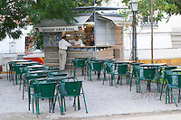 a cafe on the square jardim diana in front of the roman temple evora alentejo portugal
